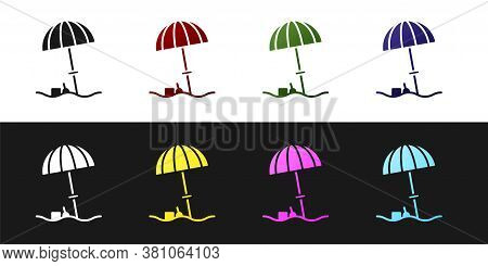 Set Sun Protective Umbrella For Beach Icon Isolated On Black And White Background. Large Parasol For