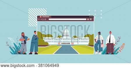 Politicians Team Near American Digital Government Building In Web Browser Window White House Washing