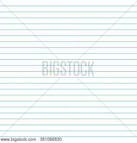 School Notebook Texture Blank Sheet. Vector Paper Exercise Book In A Line. Ruled Notebook Sheet