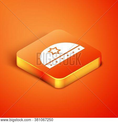 Isometric Jewish Kippah With Star Of David Icon Isolated On Orange Background. Jewish Yarmulke Hat.