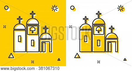Black Church Building Icon Isolated On Yellow And White Background. Christian Church. Religion Of Ch