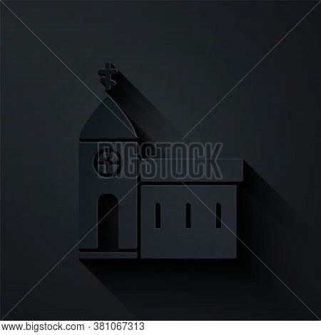 Paper Cut Church Building Icon Isolated On Black Background. Christian Church. Religion Of Church. P