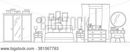 Cozy Bedroom With Furniture Line Art Interior Scene Isolated On White Background. Home Room With Bla