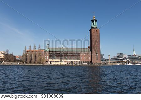 Stockholm, Sweden - April 21 2019: The View City Hall Or Stadshuset Seeing From South On April 21 20