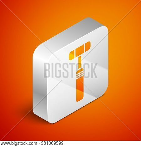 Isometric Neurology Reflex Hammer Icon Isolated On Orange Background. Silver Square Button. Vector I