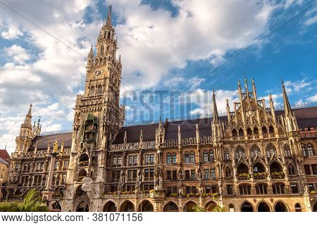 Marienplatz Square And Rathaus Or New Town Hall In Munich, Bavaria, Germany. It Is Landmark Of Munic