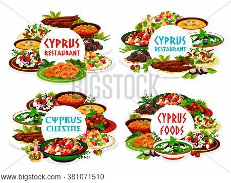 Cyprian Cuisine Vector Meals Avgolemno, Salad With Grapefruit And Goat Cheese, Greek Pickled Vegetab