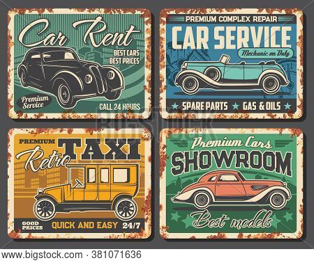 Taxi, Car Rent Service, Dealer Showroom Rusty Metal Plates. Retro Limousine And Coupe. Classic Cars