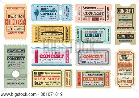 Music Concert Retro Tickets, Admits Templates. Vector Coupons For Access With Date, Time, Seat And R