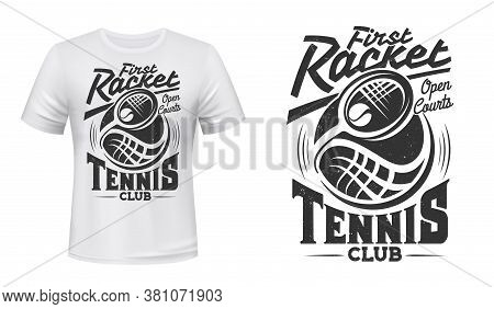 Tennis Club Vector T-shirt Mockup With Print Of Racket And Ball On White Apparel Template. Tennis Ga
