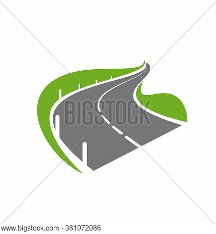 Road, Pathway Or Highway Isolated Vector Icon. Modern Paved Curve Road Or Highway With Fencing On Ro