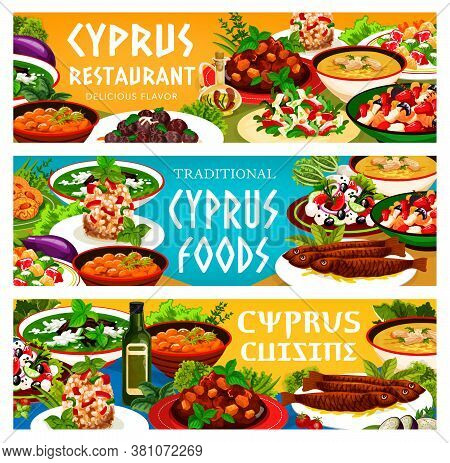 Cyprus Food Cuisine Vector Peasant, Baked Eggplant And Large Bean Salads, Avgolemnoand Pilaf In Larn