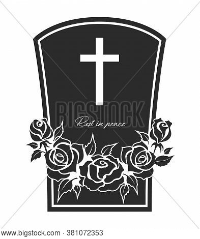 Funeral Card, Vector Gravestone With Rose Flowers Wreath, Cross And Rest In Peace Obsequial Typograp