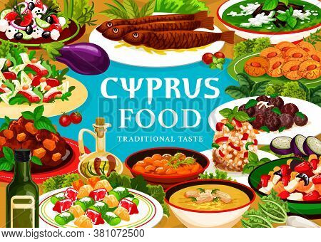 Cyprus Food Vector Meals Pilaf In Larnakski Style, Grilled Sea Fish And Zucchini Meatballs, Greek De