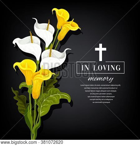 Funeral Vector Card With Calla Flowers. Sorrowful For Death, In Loving Memory Funerary Card With Flo