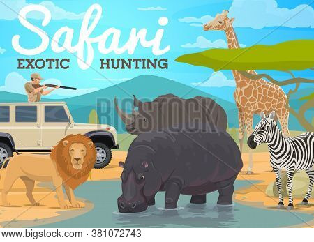 Safari Hunting And African Animals Hunt In Jungle, Vector Hunter In Africa. Safari Hunting For Wild