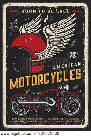 Motorcycle Poster Vintage, Motorbike And Biker Racing Vector Retro Sign. Moto Bike Garage And Classi