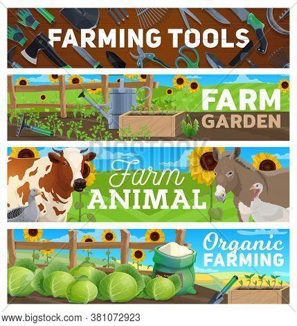 Farm Gardening, Farming Agriculture Tools, Animals Cattle At Field, Vector Farmland. Organic Green G
