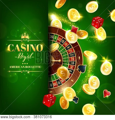 Casino Roulette Wheel And Dice Online Gambling Games, Vector Online Casino Jackpot. Game Of Chance,