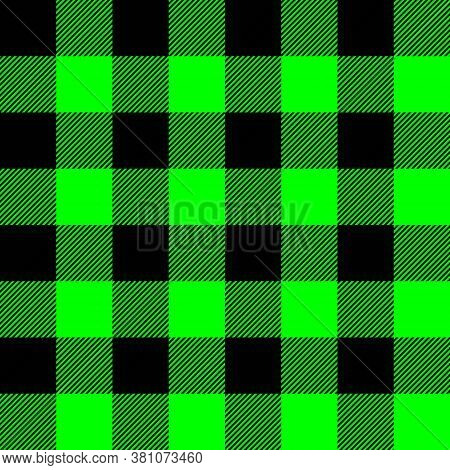 Tartan Plaid. Scottish Pattern In Black And Lime Cage. Scottish Cage. Traditional Scottish Checkered