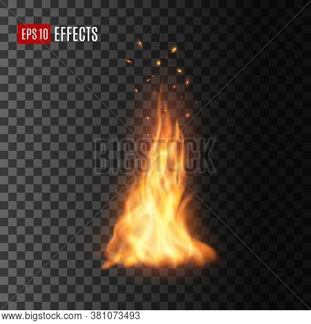 Fire With Sparks, Isolated Vector Campfire Or Torch Flame. Realistic Burning 3d Blaze, Glowing Orang