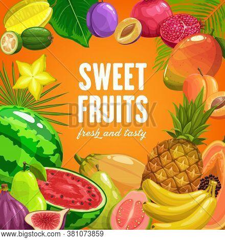 Fruits Food Tropical Pineapple, Banana And Papaya, Fruit Farm Market Vector Posters. Tropical Summer