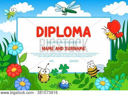 Kids Diploma With Cartoon Vector Insects Cute Bees, Butterfly, Dragonfly And Spider On Field With Gr