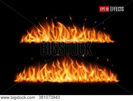 Long Burning Fire Tongues, Realistic Vector Flame With Particles, Flying Sparks And Embers. Burning