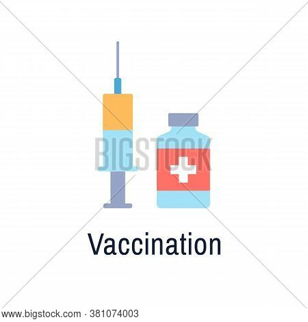 Vaccination Flat Icon Isolated On White Background. Color Vaccine Medicine. Medical Design Syringe V