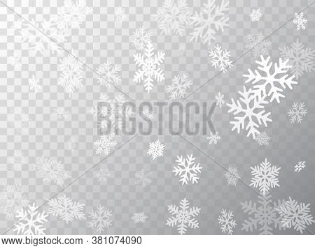 Snow Flakes Falling Macro Vector Design, Christmas Snowflakes Confetti Falling Scatter Banner. Winte