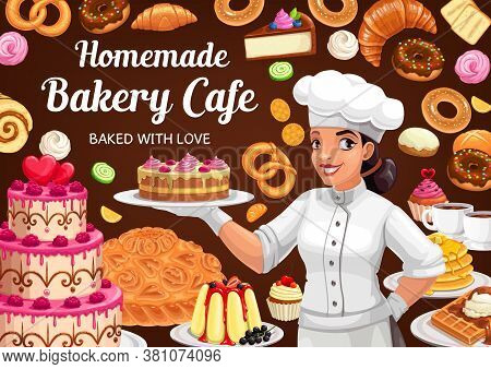 Patisserie Bakery, Vector Baker Woman Presenting Cake, Homemade Desserts And Bake Bread. Bagels And