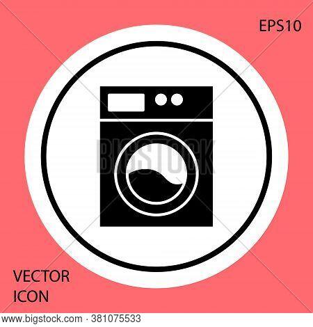Black Washer Icon Isolated On Red Background. Washing Machine Icon. Clothes Washer - Laundry Machine