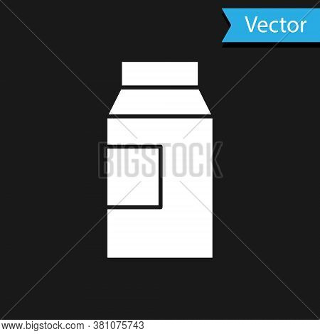 White Paper Package For Milk Icon Isolated On Black Background. Milk Packet Sign. Vector