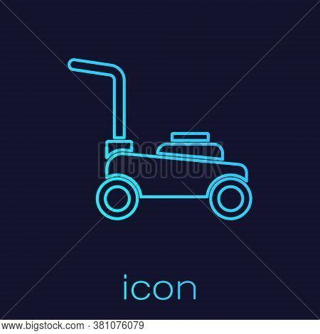 Turquoise Line Lawn Mower Icon Isolated On Blue Background. Lawn Mower Cutting Grass. Vector