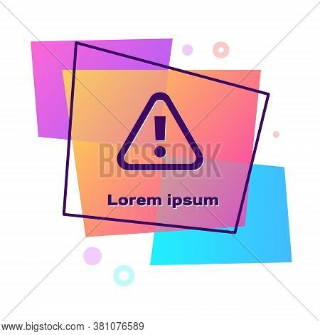 Purple Exclamation Mark In Triangle Icon Isolated On White Background. Hazard Warning Sign, Careful,