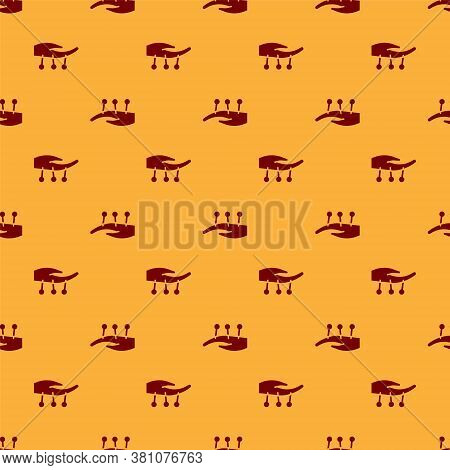 Red Acupuncture Therapy On The Hand Icon Isolated Seamless Pattern On Brown Background. Chinese Medi