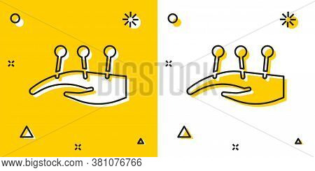 Black Acupuncture Therapy On The Hand Icon Isolated On Yellow And White Background. Chinese Medicine
