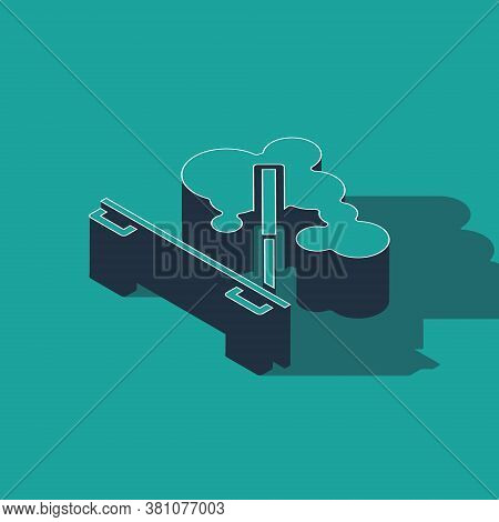 Isometric Scented Spa Stick On A Wooden Stand Icon Isolated On Green Background. Incense Stick. Cosm