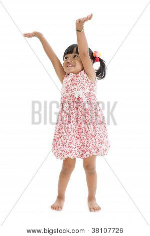 Cute Girl With Arms Up