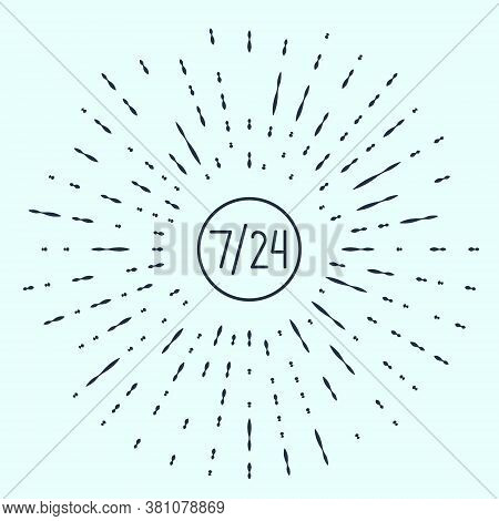 Black Line Clock 24 Hours Icon Isolated On Grey Background. All Day Cyclic Icon. 24 Hours Service Sy
