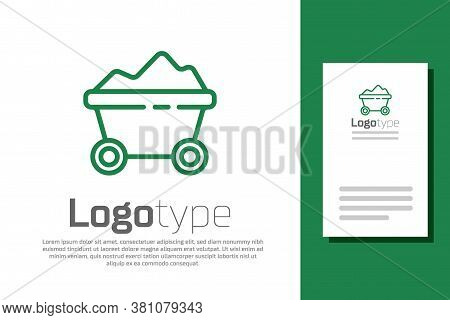 Green Line Coal Mine Trolley Icon Isolated On White Background. Factory Coal Mine Trolley. Logo Desi