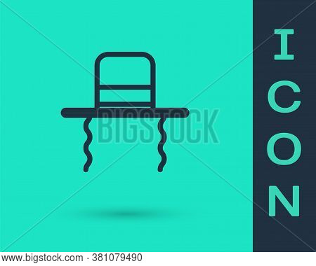 Black Line Orthodox Jewish Hat With Sidelocks Icon Isolated On Green Background. Jewish Men In The T