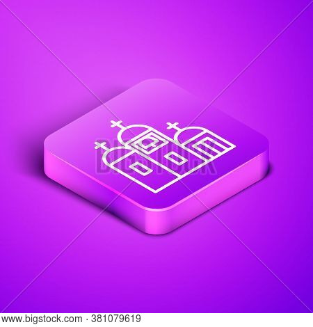 Isometric Line Church Building Icon Isolated On Purple Background. Christian Church. Religion Of Chu