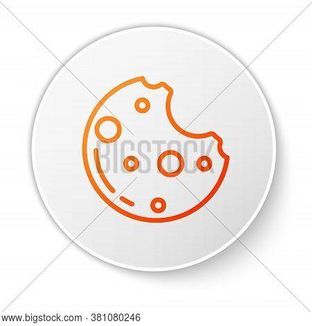 Orange Line Chocolate Cookies With Marijuana Leaf Icon Isolated On White Background. Weed, Ganja, Me