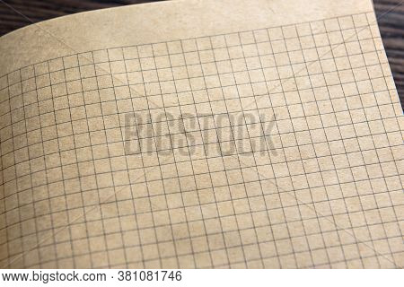 Graph Paper Of Notebook Background, Open Sketchbook With Blank Page. View Of Vintage Grid Sheet, Tex