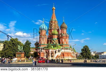 Moscow - July 20, 2020: Saint Basil`s Cathedral On Red Square In Moscow, Russia. Beautiful Ancient S