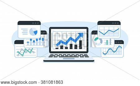 Monitoring Performance. Results Of The Research And Data Analysis. Dashboard Showing Growth Data And