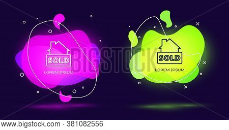 Line Hanging Sign With Text Sold Icon Isolated On Black Background. Sold Sticker. Sold Signboard. Ab