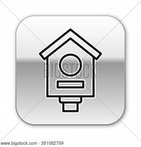 Black Line Bird House Icon Isolated On White Background. Nesting Box Birdhouse, Homemade Building Fo
