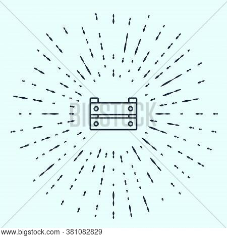 Black Line Wooden Box Icon Isolated On Grey Background. Grocery Basket, Storehouse Crate. Empty Wood